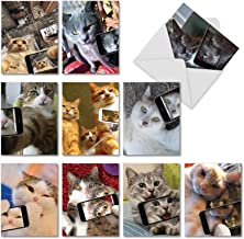 10 Assorted 'Cats Selfie' Thank You Greeting Cards with Envelopes 4 x 5.12 inch, Boxed Set of Gratitude Notes with Funny, Real Cats Taking Selfies, Silly Kitties and Selfies Cards M4953TYG-B1x10