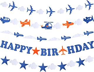 Airplane Aviator Themed Party Decorations, Plane Birthday Party Supplies for Boys, Airplane Birthday Party Decorations with Happy Birthday Banner, Airplane Happy Birthday Banner Pennant - Airplane Party Decoration - Up Up and Away Party for Boys Girls Kids 1st 2nd 3rd 4th Bday Decor