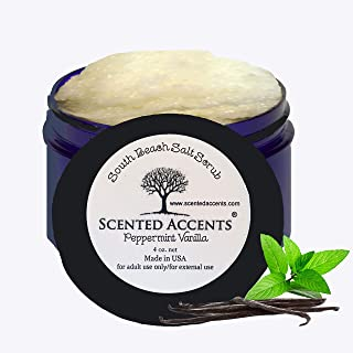 Scented Accents South Beach Ocean Salt Scrub Peppermint Vanilla Gentle Skin Softening Body Scrub, Body Polish, Foot Scrub Infused with Real Peppermint Essential Oil Fresh-Made Vegan