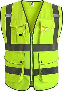 JKSafety Nueve bolsillos Nivel 2 Uniforme trabajo Chaleco con cremallera-Chaleco reflectante fluorescente-Chaleco de segurida (4X-Large)
