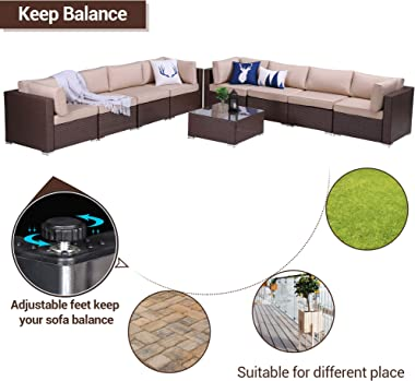 Green4ever Patio 9 Piece Furniture Set Outdoor Conversation Rattan Sofa Sets, All Weather PE Wicker Couch Sectional Set with