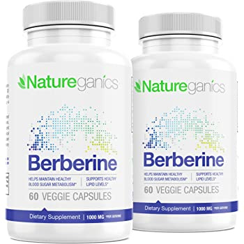 Pure Berberine HCL 1000mg 2PK - 120 Vegan Capsules, 100% Pharmaceutical Grade Berberine Supplement - Supports Healthy Blood Sugar, Glucose Metabolism, Weight Loss, Immunity & Cardiovascular Health