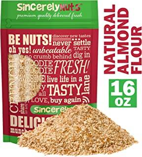 Sincerely Nuts – Natural Almond Flour Meal | 1 Lb. Bag | Fine Grain | Low Calorie, Low Sodium, Vegan, Gluten Free | Gourmet Kosher Snack Food | Source of Fiber, Protein, Vitamins and Minerals