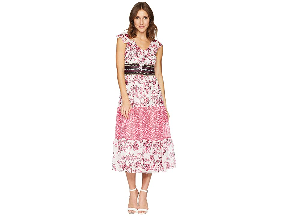 Taylor Ruffle Neck Mixed Print Chiffon Dress (Fuchsia/Ivory) Women