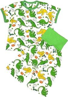 [trust map] ベビー パジャマ 腹巻付 半袖 七分丈ズボン [男の子 女の子 赤ちゃん 80 90 95] (恐竜グリーン, 95)