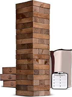 GoSports Giant Wooden Toppling Tower (Stacks to 5+ Feet) | Choose Between Natural, Brown Stain, Gray Stain or Stars and Stripes | Includes Bonus Rules with Gameboard | Made from Premium Pine