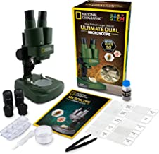 NATIONAL GEOGRAPHIC Dual LED Student Microscope. 50+ Pc Science Kit Includes Set of 10 Prepared Biological & 10 Blank Slides, Lab Shrimp Experiment, 10X-25X Optical Glass Lenses (Green)