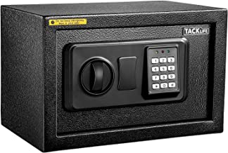 TACKLIFE-Small Safe Box 0.3Cubic Feet Lock Boxes Portable with Keypad Lock and Keys for Home Office Hotel Business Money ...