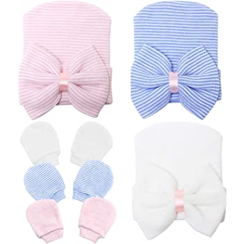 Hats for Baby Girls Newborn Hospital Hat Cap with Bow Nursery Beanie Baby Hats