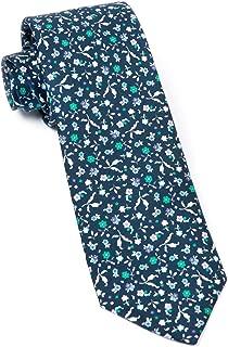 The Tie Bar 100% Printed Silk Fentone Floral Navy Skinny Tie