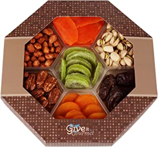 GIVE IT GOURMET, Gift Basket, Holiday Fruit Nuts Gift Basket Delightful Gourmet Food Gifts Prime Delivery Birthday Christmas Mothers & Fathers Day Fruit Nuts Gift Box Assortment Men Women Families