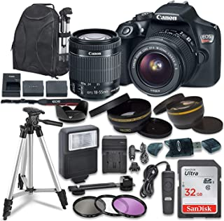 Canon EOS Rebel T6 Digital SLR Camera with Canon EF-S 18-55mm Image Stabilization II Lens, Sandisk 32GB SDHC Memory Cards, Accessory Bundle (Renewed)