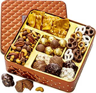 BONNIE AND POP – Nuts and Chocolate Gift Box – Chocolate Covered Pretzels, Assorted Truffles, Mixed Nuts, Smores Mix- Perf...