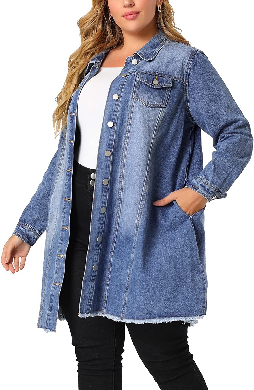 Agnes Orinda Plus Size Denim Jackets for Women Long Sleeve Button Down Ripped Long Jeans Jacket