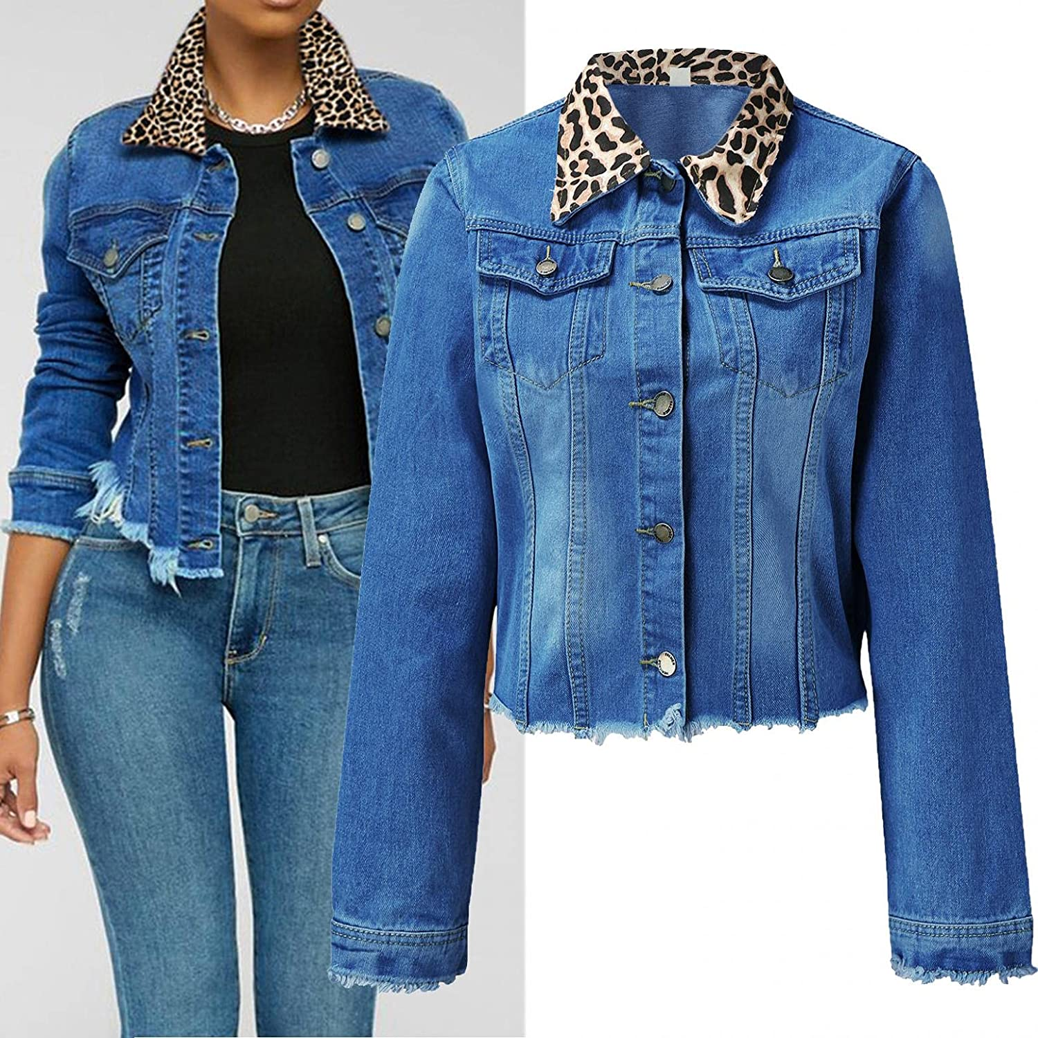 Misaky Womens Casual Blouse Button Denim Jacket With Pocket Denim Jacket Outerwear