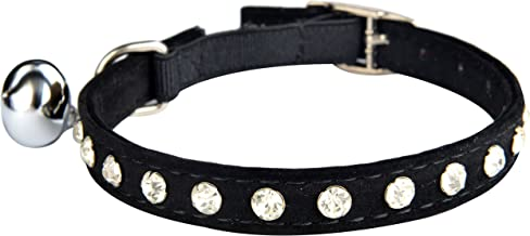 KOOLTAIL Velvet Safety Elastic Belt Rhinestones Crystal Jeweled Cat Collars with Bell 8-10.5 Inches