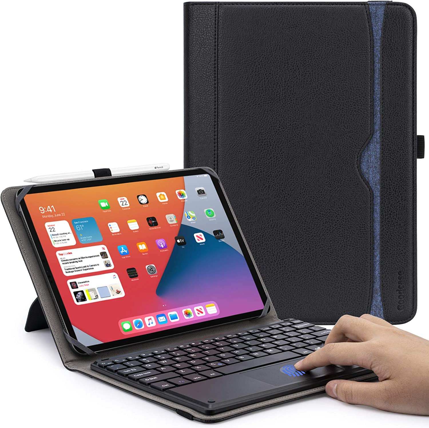 GoodCase Universal Tablet Keyboard Case, Protective Cover Stand Folio Case for 9-10.9 Inch Touchscreen Tablet, Slim Shell Lightweight Smart Cover with Magnetically Detachable Wireless Keyboard