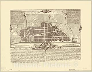 Historic Pictoric Map : London, England 1974, A Plan for rebuilding The City of London, After The Great fire in 1666, Antique Vintage Reproduction : 44in x 35in