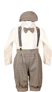 European Style Brown Ivory Boys Overall Pants Knickers Vintage Outfit 6m-4