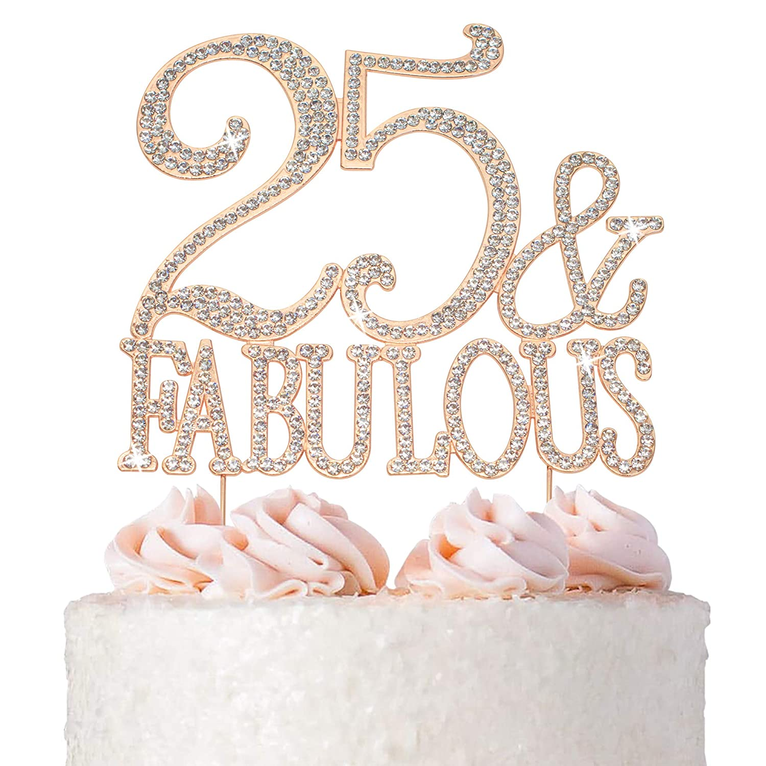 25 Cake Topper - Premium Rose Fabulous Metal and Gold Special price 25t Bombing new work