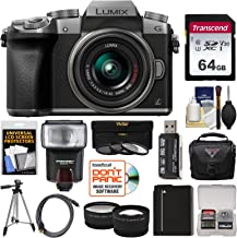 Panasonic Lumix DMC-G7 4K Wi-Fi Digital Camera & 14-42mm Lens (Silver) with 64GB Card + Case + Flash + Battery + Tripod + Tele/Wide Lens Kit
