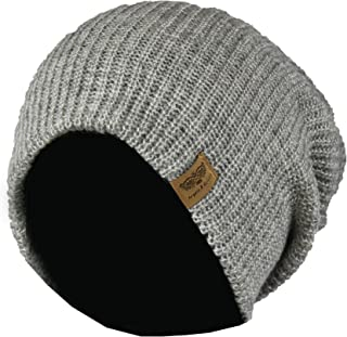 Reversible Winter Knit Slouchy Beanie Hat – Hipster Unisex Knitted Slouch Cap
