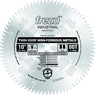 Freud LU77M010 10-Inch 80 Tooth TCG Thin Kerf Non-Ferrous Metal Cutting Saw Blade with 5/8-Inch Arbor