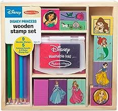 Melissa & Doug Wooden Stamp Set Disney Princesses (Arts & Crafts, Sturdy Wooden Storage Box, Washable Ink, 17 Pieces, 8.75