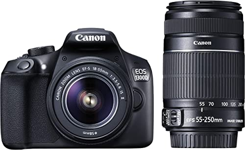 Canon EOS 1300D 18MP Digital SLR Camera (Black) with 18-55 and 55-250mm is II Lens, 16GB Card and Carry Case product image