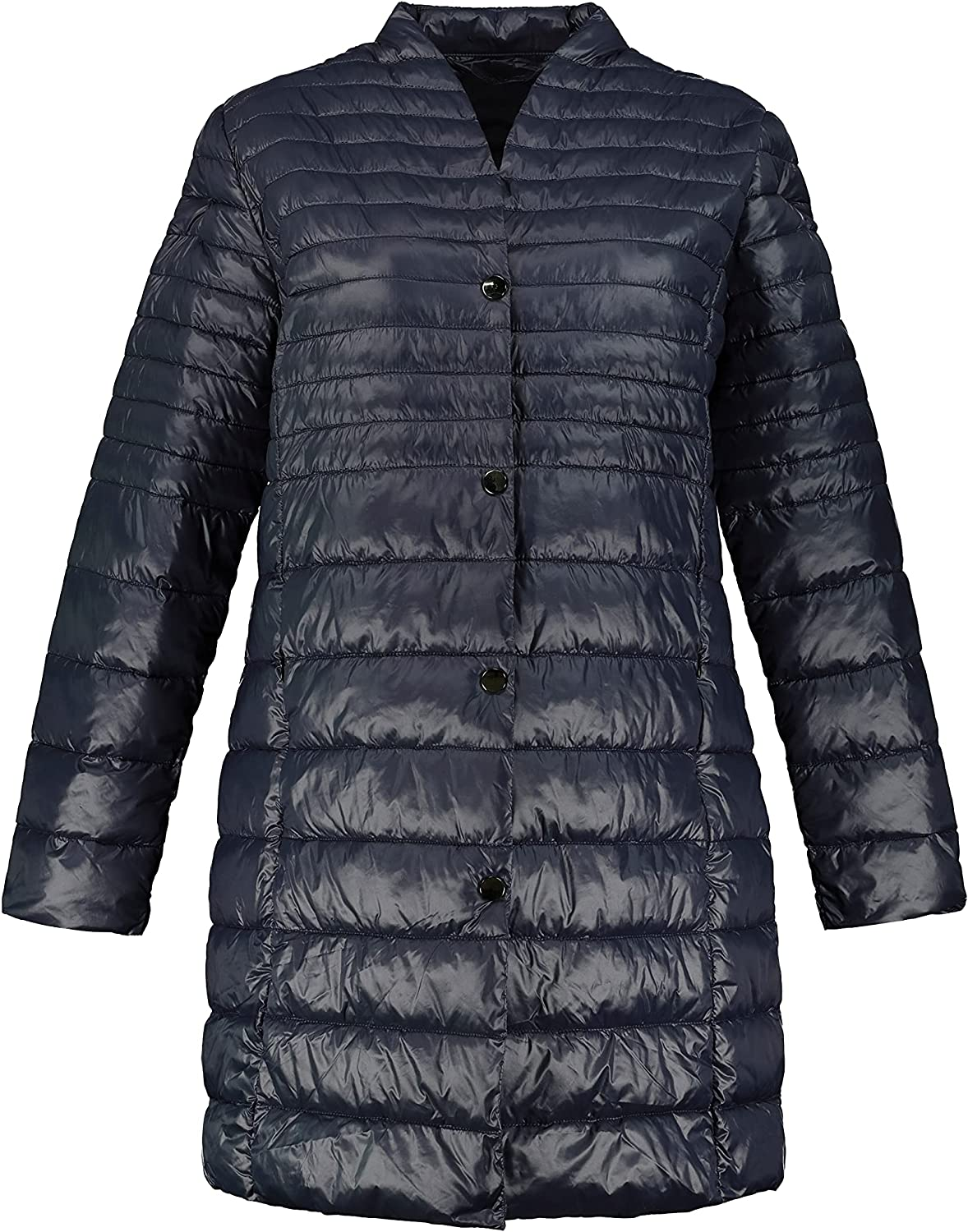 Ulla Popken Womenswear Plus Size Curvy Oversize Causal Quilted Snap Front Fully Lined Jacket 781751