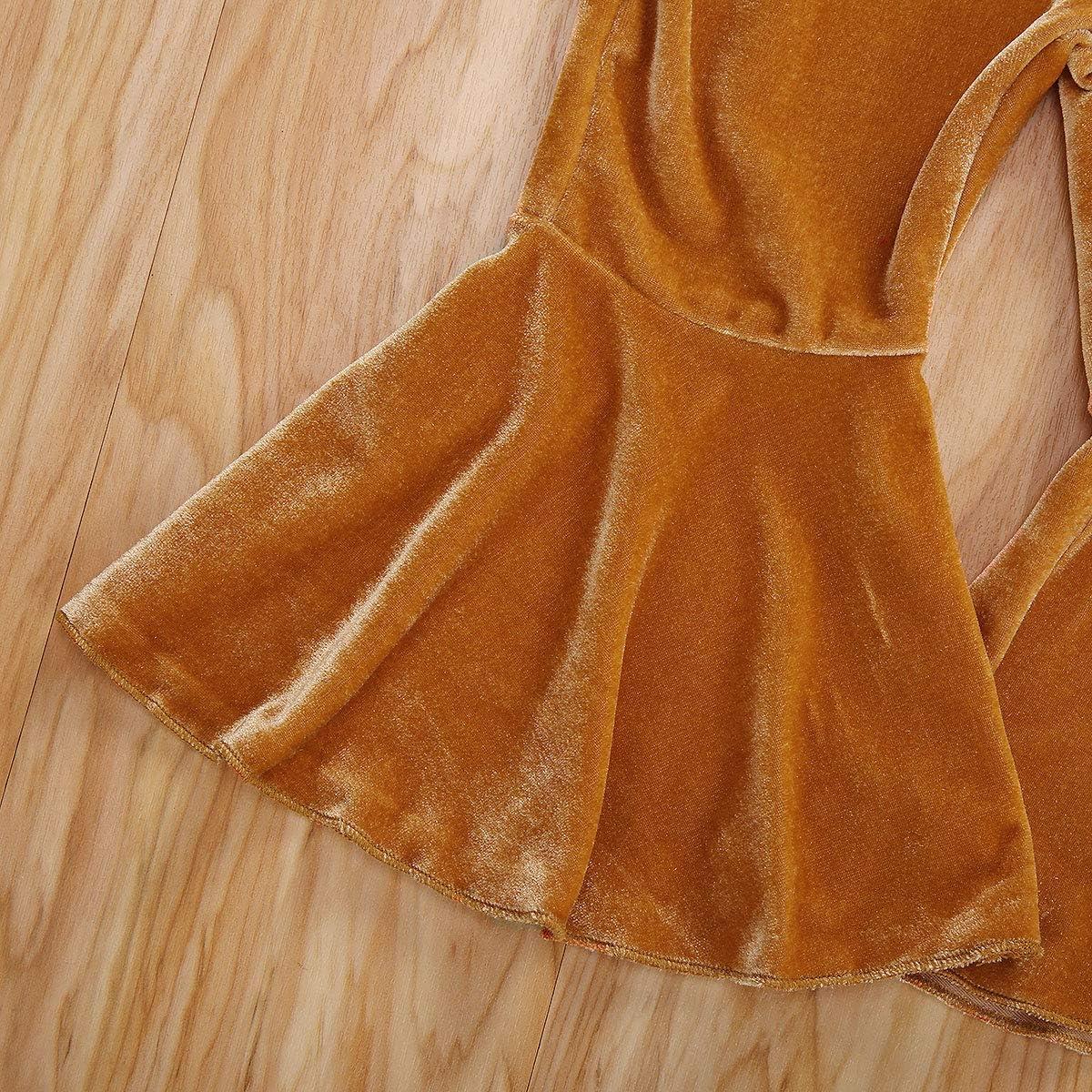 bebeshopdelageyhu Baby Girls Bell-Bottom Pants Velvet Flare Pants Leggings Fall Winter Outfits for Toddler