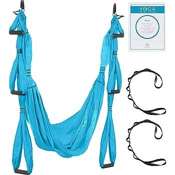 UpCircleSeven Aerial Yoga Swing Set - Yoga Hammock/Sling Kit + Extension Straps & eBook - Antigravity Ceiling Hanging Yoga Sling - Inversion Swing for Beginners & Kids