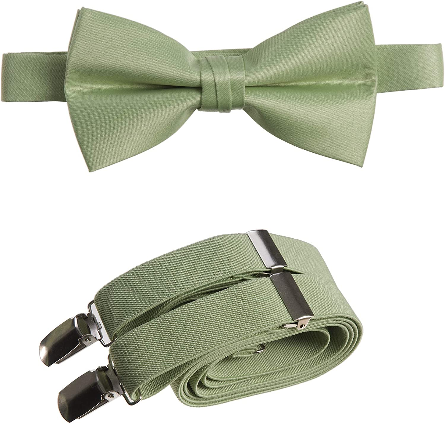 Tuxgear Mens Bow Tie and Adjustable Stretch Suspender Sets in Assorted Colors