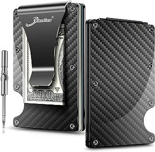 Minimalist Carbon Fibre Wallet, EliveBuy Slim Wallet & RFID Blocking Front Pocket Wallet,Metal Wallet-Gifts for Men and Women