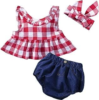 YIJIUJIU 3Pcs/Set Baby Girls Clothes Red Plaid Ruffle Bowknot Tank Tops Denim Shorts Outfits with Headband