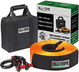 ALL-TOP Nylon Heavy Duty Tow Strap Recovery Strap Kit : 3 inch x 30 ft (32.000 lbs) 100% Nylon and 22% Elongation Snatch Strap + 3/4 Heavy Duty D Ring Shackles (2pcs) + Storage Bag