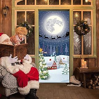 AKSBHC Murale per porta personalizzato rimovibile 3D 95x215CM Notte di neve albero di natale vacanza atmosfera PVC autoade...