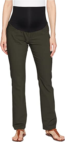 Maternity Harper Bootcut Trousers in Clean Weave Fabric in Peat Green
