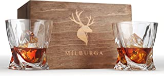 Premium Quality Twist Whiskey Glasses Set of 2 in Hand Crafted Wooden Box – Lead-Free Crystal Old Fashioned Tasting Tumblers For Scotch, Whisky, Liquor, Bourbon 10 oz. Luxury Gift Set For Men or Women