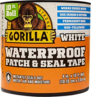 """Gorilla Waterproof Patch & Seal Tape, 4"""" x 10`, White (Pack of 1)"""