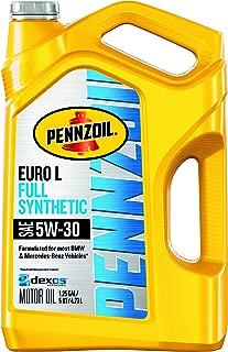 Pennzoil 550051123-3PK Platinum Euro Full Synthetic 5W-30 Motor Oil, 5 Quart, 480. Fluid_Ounces, 3 Pack