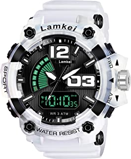Lamkei LAM-1272 Black Dial White Transparent Silicone Strap Analogue Digital Multifunction Watch for Men