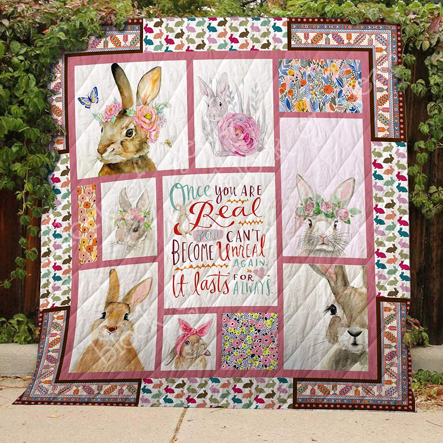 Rabbit Quilt TH489, Queen All-Season Quilts Comforters with Reversible Cotton King Queen Twin Size - Best Decorative Quilts-Unique Quilted for Gifts