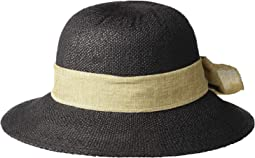 PBM3020 - Concentric Brim Cloche with Linen Bow Trim