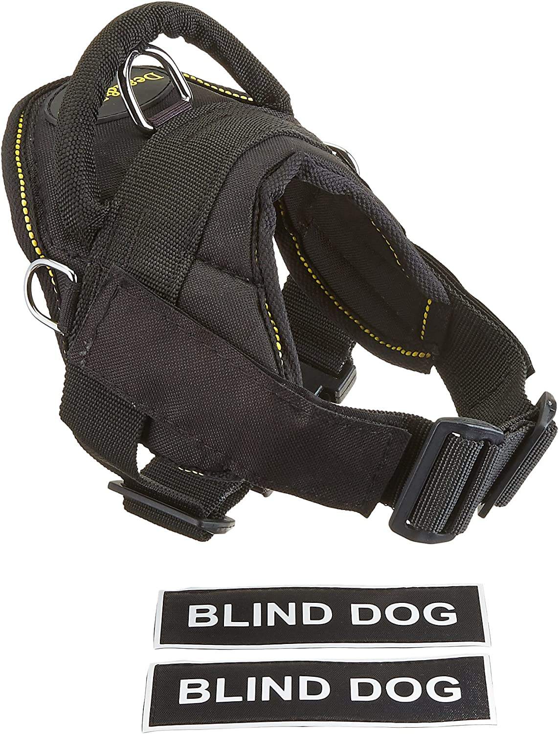 Dean & Tyler DT Fun Works Harness, Blind Dog, Black With Yellow Trim, XXSmall  Fits Girth Size  18Inch to 22Inch