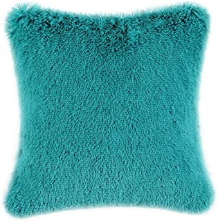 CaliTime Super Soft Throw Pillow Cover Case for Couch Sofa Bed Solid Plush Faux Fur 18 X 18 Inches Teal