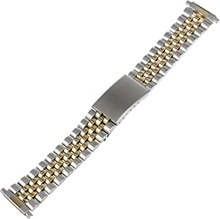 TX121T Allstrap 16-21mm Two-Tone Adjustable-Length 2-Tone Link- Center Clasp Watchband