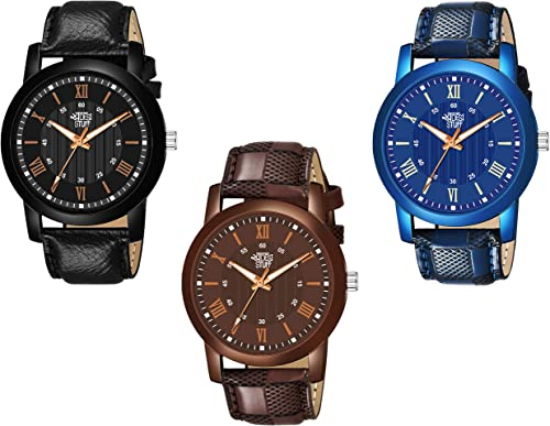 Leather Strap Pack of 3 Multi Color Dial Analogue Watch for Men and Boys