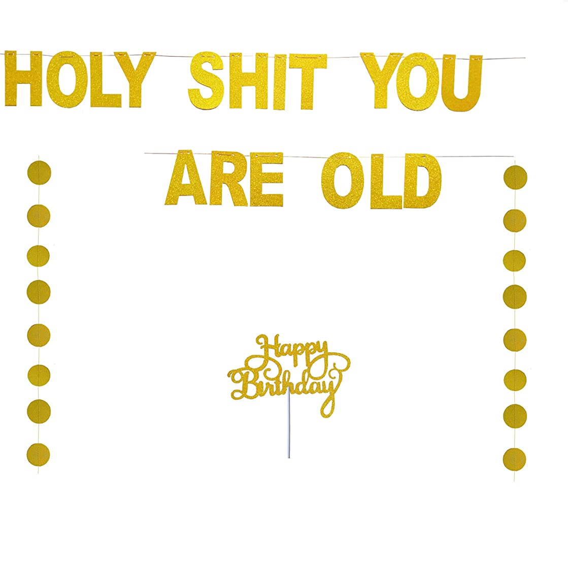 Holy Shit You are Old Birthday Party Decorations,Funny Birthday Banner,Gold Glitter Banner for Adult Happy Birthday Cake Topper-7.8 Feet