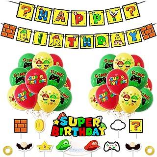 Super Mario Party Supplies Super Mario Globos Super Mario Cumpleaños Pancartas Decoración para Fiestas Adorno de Torta par...